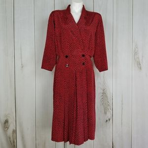 Vintage Early 1980's Red Houndstooth Check Dress